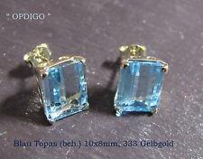 """Blau Topas (beh.) Gelbgold Ohrstecker """"Idar-Oberstein""""  """"OPDIGO"""" , ca. 15 ct."""