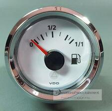 VDO medidor de gasolina para tauchrohr instrumento 12v + 24v serie blanca gauge anillo de cromo