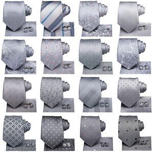Mens Tie Novelty Wedding Men Tie Grey Silver Black Geometric Striped Hanky Set