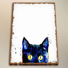 Watercolor Painting Art Peeking Black Cat for Kids Room Decor Print Canvas 24x32