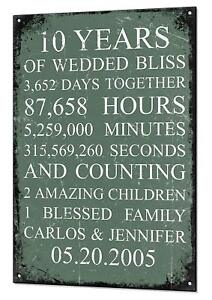 Wedding Anniversary Gift Custom Vintage Metal Sign Plaque Days Hours Minutes