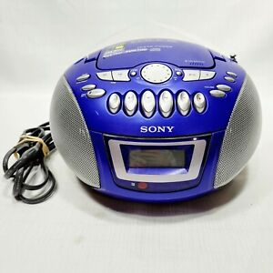 Sony CFD-E75 CD AM/FM Radio Cassette Boom Box and Power Cord Blue Tested Works