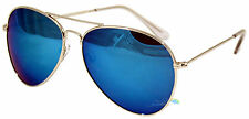 Lunettes de soleil Aviateur Bleu verres effet miroir teinte sombre ARGENT CADRE