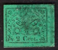 Italy Papal State, 1867 issue 2 cents green imperforated used (Diena)      -BU24
