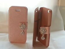 Diamond flip leather cover case for iphone 5 / Peachpuff