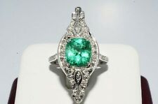 $31,400 3.66CT ANTIQUE ART DECO NATURAL COLOMBIAM EMERALD & DIAMOND RING PLAT