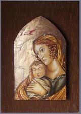 Icona Capoletto anni 50/60 legno gesso velluto oro Madonna Bambin Gesù Trecento