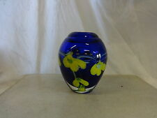 Beautiful Cobalt Blue and Chartreuse Hand Blown Glass Vase