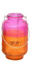 NEW Two Tone Pink Orange Glass Lantern Outdoor Candle Holder Garden Decoration