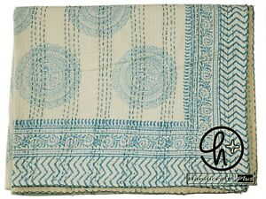 100% Cotton Kantha Quilt Hand Block Print Throw King Size Indian Boho Bedspread