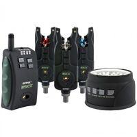 Sonik *NEW* SKS 3 Rod Bite Alarm & Receiver Set with FREE Bivvy Light