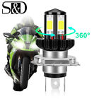 H4 9003 HB2 Motorcycle Headlight 4side COB LED Bulb 360° Hi/Lo Beam Super Bright