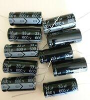 Valve Tube Radio 10x MIEC 33uf 600-volt electrolytic capacitors. 650 v surge .