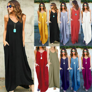 UK Womens Summer Beach Boho Loose Dress Ladies Kaftan Maxi Dresses Long Sundress