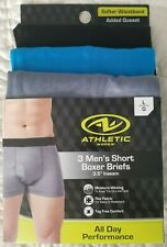 3 Athletic Works Boxer Briefs Poly/Spandex New Black/Sport Blue/Charcoal Large
