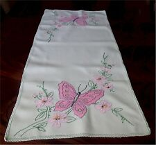 Lovely Vintage Light Green Linen Runner Big Pink Embroidered Butterfly Floral