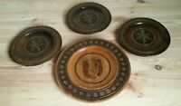 Vintage Hand Carved Wooden Decorative Plate, Wall Hanging Decor Set of 4, Poland