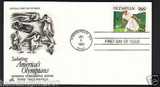 Hazel Wightman Olympic Salute 1990 First Day Cover & 25c Commemorative Stamp