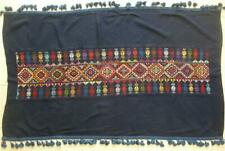 "VINTAGE HAND EMBROIDERED BEDOUIN CROSS STITCHED BLUE TABLECLOTH 27""X47"""
