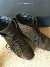 Tommy Hilfiger Ankle Boots Green Suede With Dark Brown Shimmer UK 6.5 EU 40