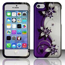 For Apple iPhone 5C Rubberized Matte Hard Design Cover Case - Purple Silver Vine
