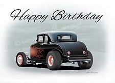 1932 Ford 5 window Hot Rod Model B Coupe Dad Son Birthday Greetings Card