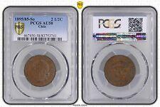 CHILE - RARE 2-1/2 CENTAVOS COIN 1895 YEAR KM#150 PCGS GRADING AU58