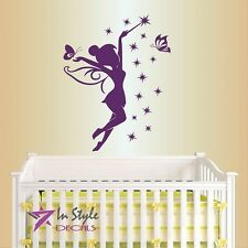 Vinyl Decal Fairy with Wand and Stars Baby Girl Kids Nursery Room Sticker 589