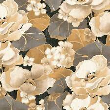Seabrook Metallic Gold Floral Wallpaper DOUBLE ROLL (8628)