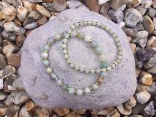 AMAZONITE Semi Precious Gemstone Bracelet Set ~ by Lola & Lily Rose 🌹