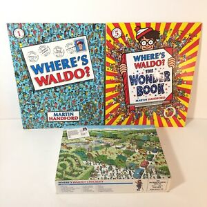Lot of 2 Where's Waldo Search Books and 100 piece Jigsaw Puzzle Safari Park 1989