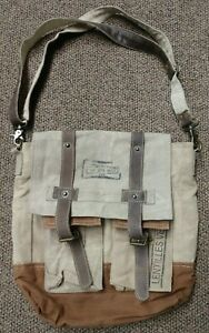 UPCYCLED IMMIGRATION CANVAS LEATHER TOTE BACK PACK PURSE LENTILLES WOMENS