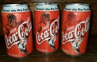 3 2000 Coca Cola Classic cans USA NFL Legend Roger Staubach & 2 Larry Csonka