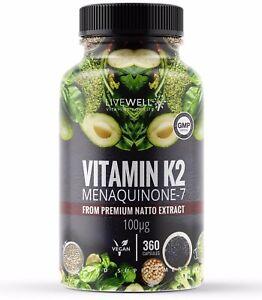 Vitamin K2 MK-7 Capsules / Tablets | 360 Vegan | Bone & Cardiovascular Health