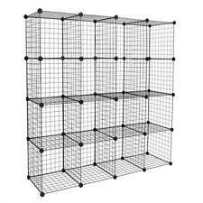 Home Wire Storage Cube Metal Grid Bookshelf Modular 16-Cube Shelf Unit Black