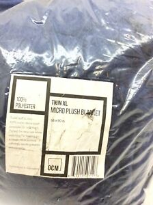 OCM Navy Blue Extra Long Microplus Blanket for Twin XL 66 x 90 In