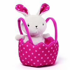 Gund Polka Dots Easter Egg Hunting Bag Basket Plush Toy with Bunny Perfect Gift