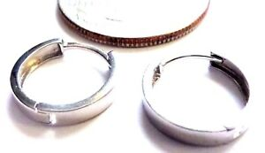 10KT White Gold 3 X 13.5MM Huggie Earrings-Square Edge-Gift Box-Free Shipping!