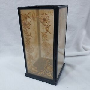 POTTERY BARN oriental style glass orange floral embroidery sides lantern