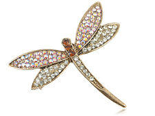 Crystal Elements Antique Rose AB Dainty Dragonfly Pin Brooch VTG