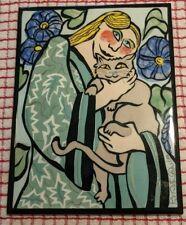 """Whimsical Art Tile by Pat Custer Denison (Signed/Ltd Ed)-""""Morning in the Garden"""""""