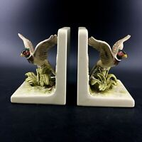 Vintage Pair Otagiri OMC Japan Porcelain Pheasants Bookends Birds Hand Painted