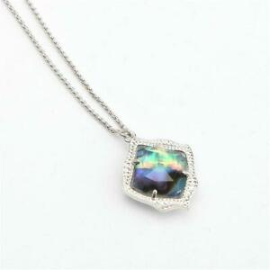 Kendra Scott Kacey Silver Long Pendant Necklace in Abalone Shell w Dust Bag