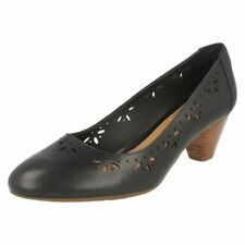 Court Shoes Block Floral 100% Leather Upper Heels for Women