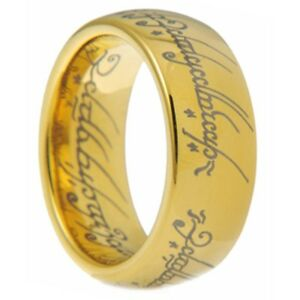 8mm Tungsten Gold Lord of the Rings Hobbit Wedding Band Laser Engrave Size 7-15