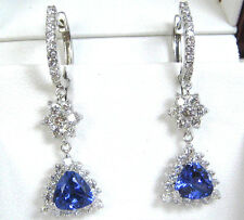 Tanzanite Earrings 18K White Gold Halo Certified Natural AAA+ Heirloom $8,494