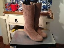 Tan Suede Real Lambswool Lining Mid Calf Boots Women's Size 7.5 Made in England