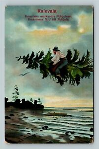 "Finnish Man on Flying Tree ""Kalevala Saga"" Pohjola FINLAND MYTHOLOGY Postcard"