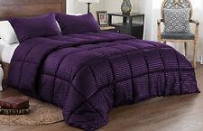 Reversible Solid/Emboss Stripe Comforter Set Down Alternative Twin/Queen/King