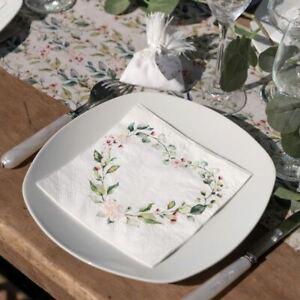 Botanical Heart Napkins   Green Floral Wedding Tea Party Decoration x 20
